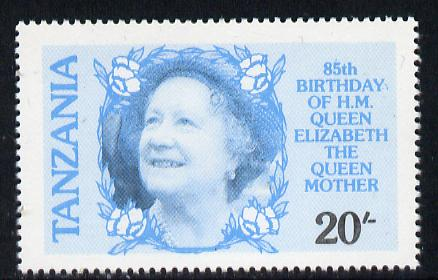 Tanzania 1985 Life & Times of HM Queen Mother 20s (SG 425) unmounted mint perforated colour proof single in blue & black only*
