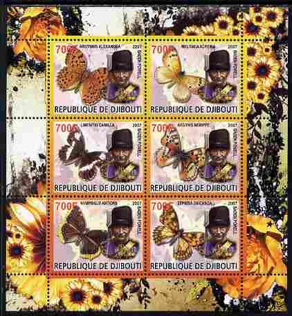 Djibouti 2007 Butterflies Baden Powell perf sheetlet containing 6 values unmounted mint. Note this item is privately produced and is offered purely on its thematic appeal