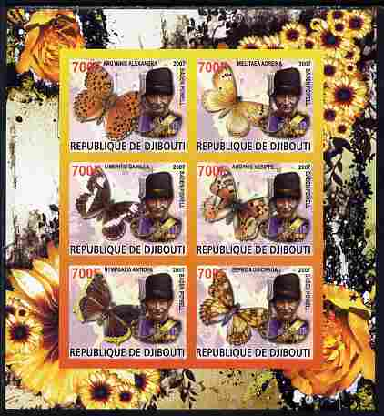 Djibouti 2007 Butterflies Baden Powell imperf sheetlet containing 6 values unmounted mint. Note this item is privately produced and is offered purely on its thematic appeal