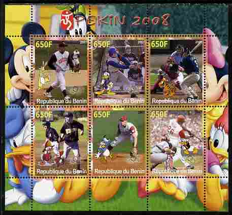 Benin 2007 Beijing Olympic Games - Baseball perf sheetlet containing 6 values (Disney characters in background)  unmounted mint. Note this item is privately produced and is offered purely on its thematic appeal