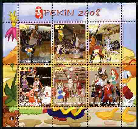 Benin 2007 Beijing Olympic Games - Basketball perf sheetlet containing 6 values (Disney characters in background) unmounted mint. Note this item is privately produced and is offered purely on its thematic appeal
