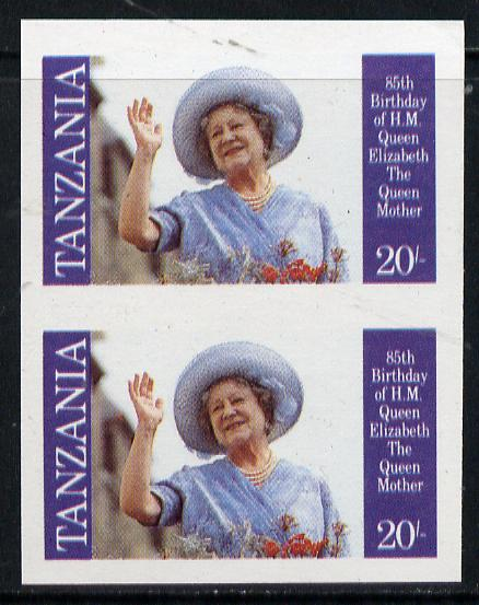 Tanzania 1985 Life & Times of HM Queen Mother 20s (SG 426) unmounted mint imperf pair*