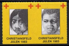 Cinderella - Denmark (Christiansfeld) 1983 Christmas Red Cross set of 2 rouletted labels produced by Christiansfeld Red Cross (children