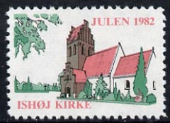 Cinderella - Denmark (Ishoj) 1982 Christmas perf label showing Ishoj Church