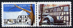 Cinderella - Denmark (Odense) 1985 Christmas se-tenant set of 2 perf labels produced by Odense Men's Club