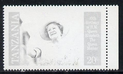 Tanzania 1985 Life & Times of HM Queen Mother 20s (SG 426) unmounted mint perforated colour proof single in black only*
