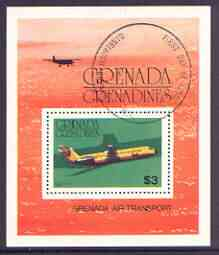 Grenada - Grenadines 1976 Airplanes $3 perf m/sheet (BAC 1-11) fine cto used, SG MS 190