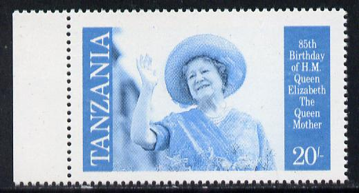 Tanzania 1985 Life & Times of HM Queen Mother 20s (SG 426) unmounted mint perforated colour proof single in blue & black only*