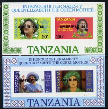 Tanzania 1986 Queen Mother imperf proof set of 2 m/sheets each with 'AMERIPEX 86' opt in black (unissued) unmounted mint