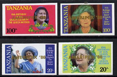 Tanzania 1986 Queen Mother imperf proof set of 4 each with 'AMERIPEX 86' opt in gold (unissued) unmounted mint*