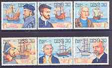 Laos 1983 Explorers & Their Ships complete perf set of 6 unmounted mint, SG 674-79
