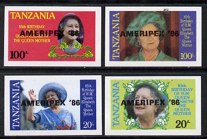 Tanzania 1986 Queen Mother imperf proof set of 4 each with 'AMERIPEX 86' opt in black (unissued) unmounted mint*, stamps on postal, stamps on royalty, stamps on queen mother, stamps on stamp exhibitions