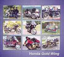 Altaj Republic 2002 Honda Gold Wing Motorcycles perf sheetlet containing set of 9 values unmounted mint