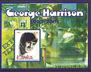 Karelia Republic 2002 George Harrison perf m/sheet #01 containing 5.00 value, unmounted mint, stamps on music, stamps on pops, stamps on beatles, stamps on personalities, stamps on guitar