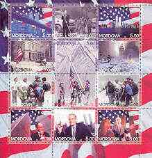 Mordovia Republic 2001 The Twin Towers Disaster perf sheetlet containing set of 12 values unmounted mint