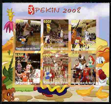 Benin 2007 Beijing Olympic Games - Basketball imperf sheetlet containing 6 values (Disney characters in background) unmounted mint. Note this item is privately produced and is offered purely on its thematic appeal