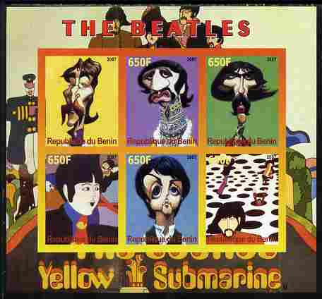 Benin 2007 The Beatles - Yellow Submarine imperf sheetlet containing 6 values unmounted mint. Note this item is privately produced and is offered purely on its thematic a...