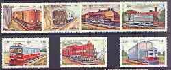 Kampuchea 1984 Railway Locomotives complete perf set of 7 unmounted mint, SG 542-48