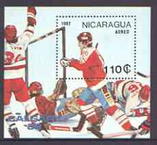 Nicaragua 1987 Winter Olympics (Ice-Hockey) m/sheet unmounted mint, SG MS 2833