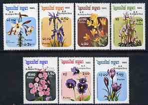 Kampuchea 1985 Flowers complete perf set of 7 unmounted mint, SG 631-37