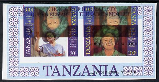 Tanzania 1985 Life & Times of HM Queen Mother m/sheet (containing SG 426 & 428) unmounted mint imperf additionally printed 100s (SG 428) inverted, most unusual & spectacular
