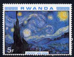Rwanda 1980 Impressionist Paintings 5F Starry Night by Van Gogh unmounted mint, SG 1000