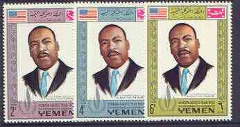Yemen - Royalist 1968 Human Rights Year the three perf values showing Martin Luther King unmounted mint (Mi 542, 546 & 550A)*