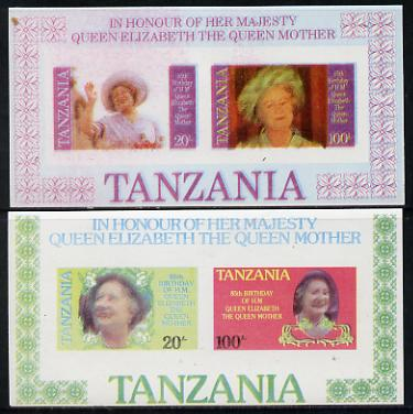 Tanzania 1985 Life & Times of HM Queen Mother set in 2 m/sheets (as SG MS 429) both imperf and probably pr unmounted mintoofs with colours blurred and watery
