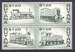 Guyana 1987 Railways $1.20 bronze-green se-tenant block of 4 unmounted mint, SG 2194a