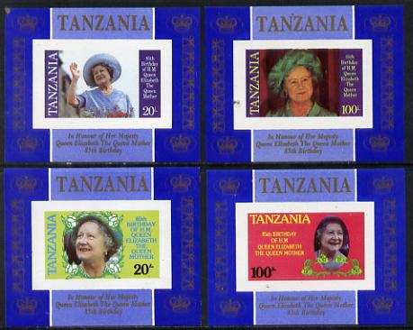Tanzania 1985 Life & Times of HM Queen Mother unissued set of 4 unmounted mint deluxe sheetlets (one stamp per sheetlet) imperforate, unlisted by SG