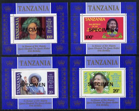 Tanzania 1985 Life & Times of HM Queen Mother unissued set of 4 unmounted mint perf deluxe sheetlets (one stamp per sheetlet) opt'd SPECIMEN