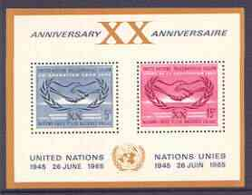 United Nations (NY) 1965 20th Anniversary & International Co-operation Year m/sheet unmounted mint, SG MS 145