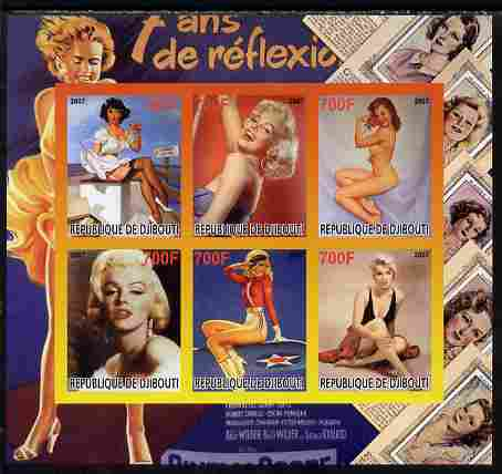 Djibouti 2007 Pin-ups (Marilyn Monroe) imperf sheetlet containing 6 values unmounted mint. Note this item is privately produced and is offered purely on its thematic appeal