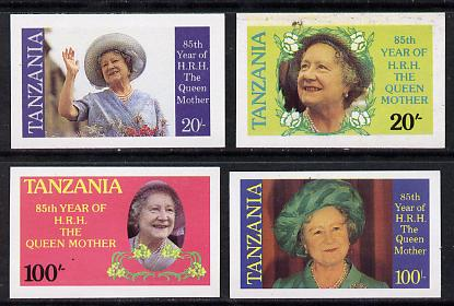 Tanzania 1985 Life & Times of HM Queen Mother unissued set of 4 imperf singles each inscribed in error 'HRH the Queen Mother' instead of 'HM Queen Elizabeth the Queen Mother' unmounted mint*