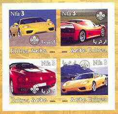 Eritrea 2002 Modern Cars #01 imperf sheetlet containing set of 4 values with Scout Logo unmounted mint