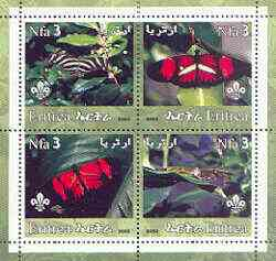 Eritrea 2002 Butterfliess #01 perf sheetlet containing set of 4 values with Scout Logo unmounted mint