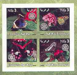 Eritrea 2002 Butterfliess #02 imperf sheetlet containing set of 4 values with Rotary Logo unmounted mint