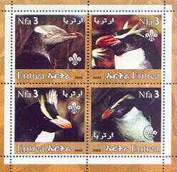Eritrea 2002 Penguins #01 perf sheetlet containing set of 4 values with Scout Logo unmounted mint