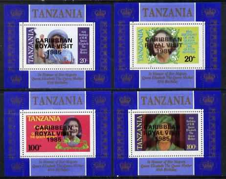 Tanzania 1985 Life & Times of HM Queen Mother unissued set of 4 unmounted mint perforated deluxe sheetlets (one stamp per sheetlet) opt'd 'Caribbean Royal Visit 1985'