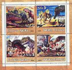 Eritrea 2002 Dinosaurs #01 perf sheetlet containing set of 4 values with Scout Logo unmounted mint