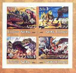 Eritrea 2002 Dinosaurs #01 imperf sheetlet containing set of 4 values with Scout Logo unmounted mint