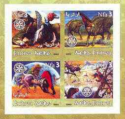 Eritrea 2002 Dinosaurs #02 imperf sheetlet containing set of 4 values with Rotary Logo unmounted mint
