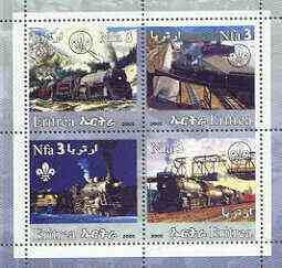 Eritrea 2002 Steam Locos #01 perf sheetlet containing set of 4 values with Scout Logo unmounted mint