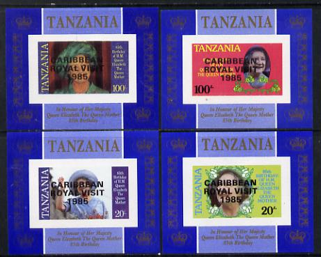 Tanzania 1985 Life & Times of HM Queen Mother unissued set of 4 unmounted mint imperf deluxe sheetlets (one stamp per sheetlet) opt'd 'Caribbean Royal Visit 1985'