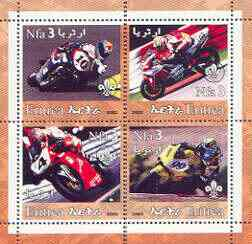 Eritrea 2002 Motorcycles #01 perf sheetlet containing set of 4 values with Scout Logo unmounted mint