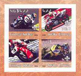 Eritrea 2002 Motorcycles #01 imperf sheetlet containing set of 4 values with Scout Logo unmounted mint