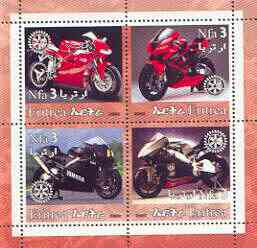 Eritrea 2002 Motorcycles #02 perf sheetlet containing set of 4 values with Rotary Logo unmounted mint