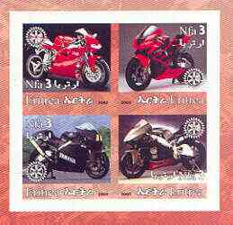 Eritrea 2002 Motorcycles #02 imperf sheetlet containing set of 4 values with Rotary Logo unmounted mint