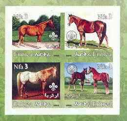 Eritrea 2002 Horses #01 imperf sheetlet containing set of 4 values with Scout Logo unmounted mint