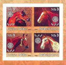 Eritrea 2002 Horses #02 imperf sheetlet containing set of 4 values with Rotary Logo unmounted mint